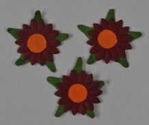 BURGUNDY SUNFLOWERS (2cm) Mulberry Paper Flowers miniature card wedding